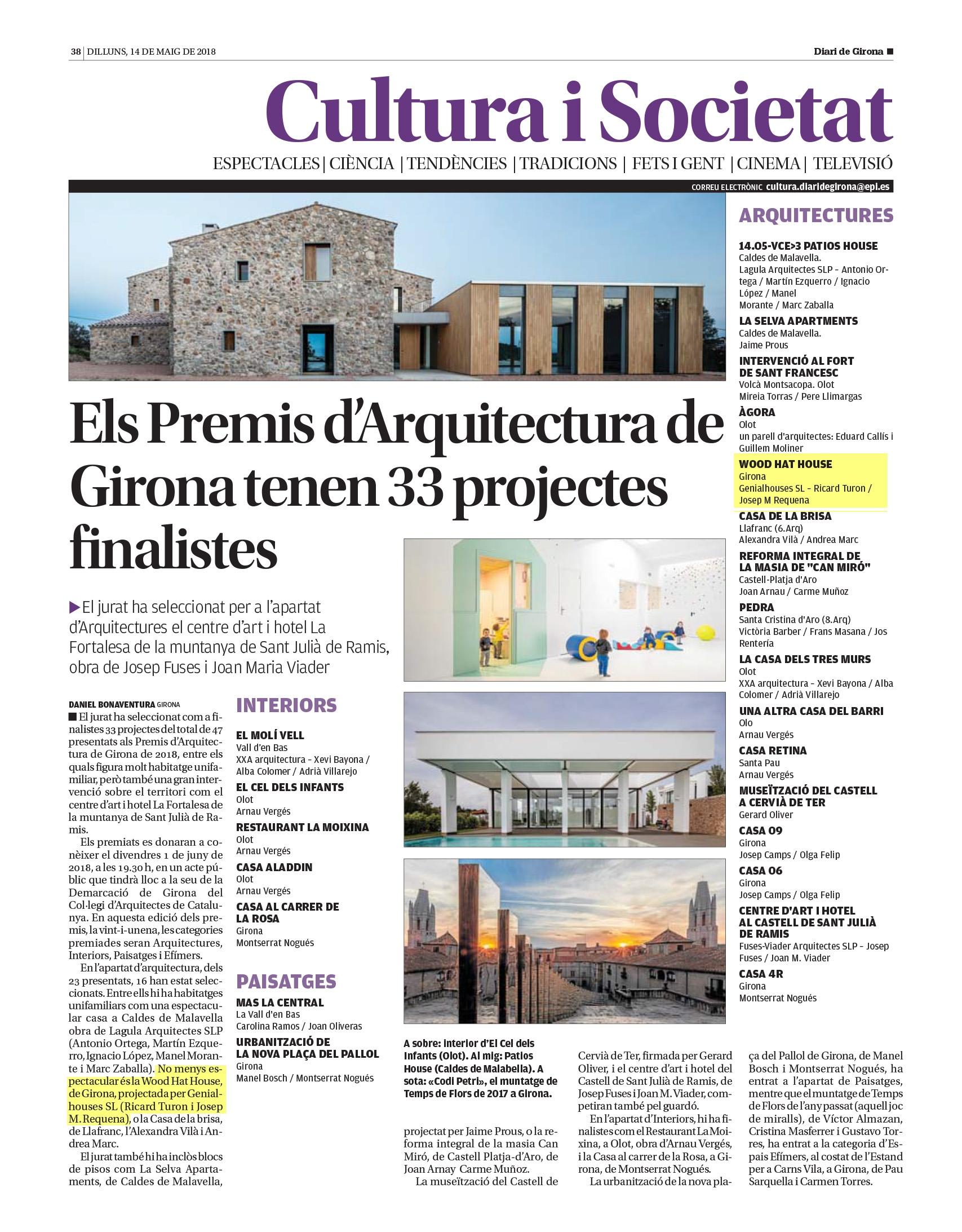 Altre cop Genial Houses finalista als premis d'Arquitectura