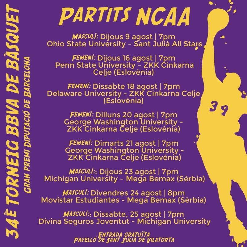 8 partits NCAA, previs al 34è Torneig BBVA de Bàsquet