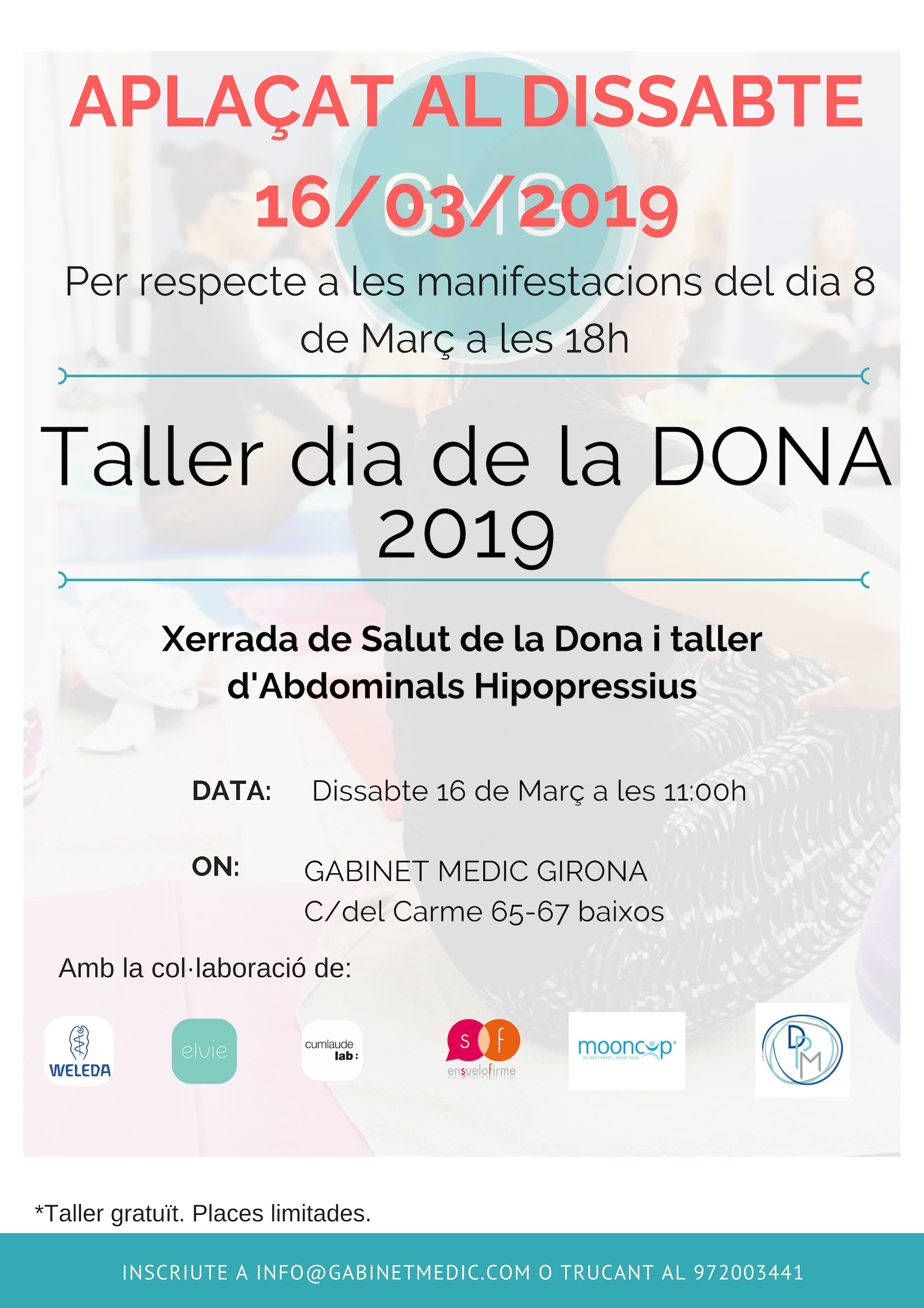 ATENCIÓ! Canvis en el Taller dia de la Dona 2019