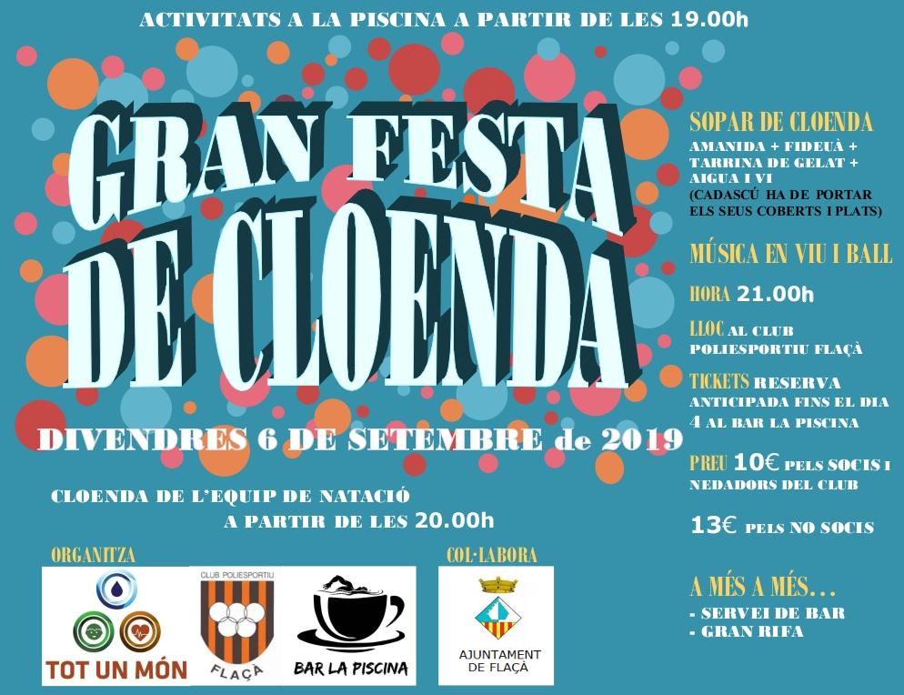 Gran festa de cloenda temporada natació FLAÇÀ - Divendres 6 Setembre 2019 a partir de les 20:00h