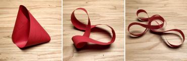 En Matemàtiques, la cinta de Moebius és una superfície d'una sola cara i un sol contorn. Què passa si la tallem per la meitat i de nou per la meitat?
