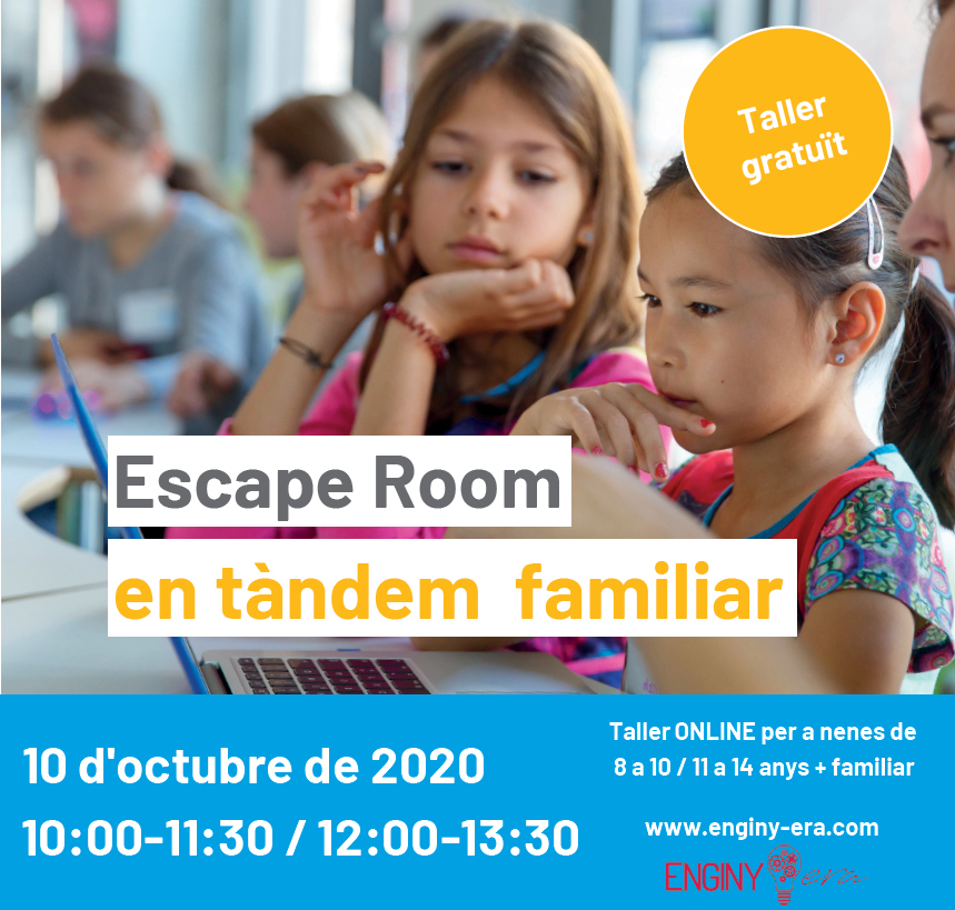 Ja us podeu apuntar al taller gratuït ESCAPE ROOM EN TÀNDEM FAMILIAR!!! @MeetandCode @SAP @techsoupeurope #meetandcode #codeEU #SAP4Good