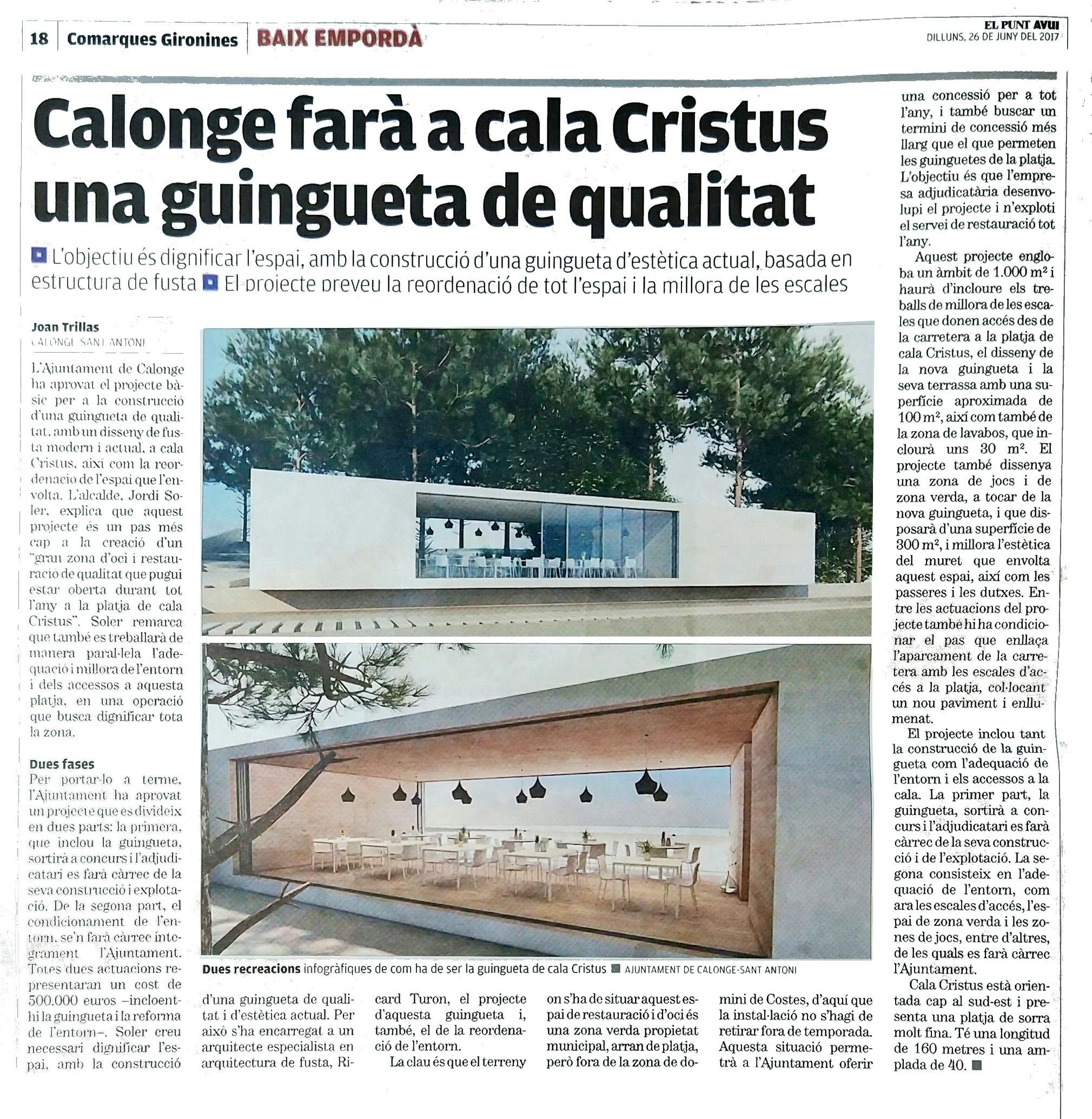 L'Ajuntament de Calonge farà una guingueta dissenyada per Ricard Turon